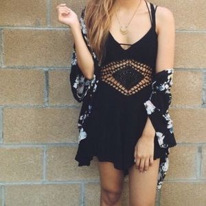 LF black Diamond Crochet romper